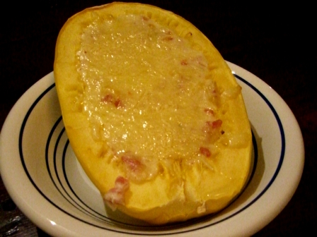 Spaghetti Squash with Swiss and Pancetta Bechamel