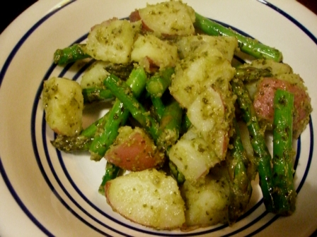 ... with Arugula and Shrimp and Grilled Asparagus and Pesto Potato Salad