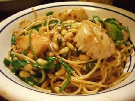 Angel Hair with Scallops and Arugula