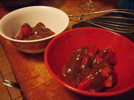 Chocolate Zabaglione and Strawberries