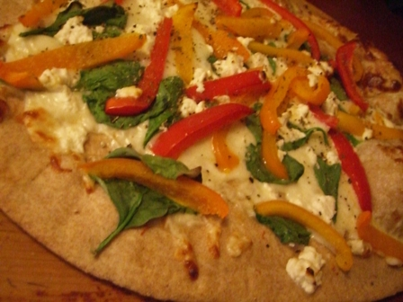 Red Pepper and Spinach Pizza