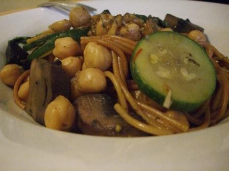 Portabello and Chickpea Toasted Spaghetti